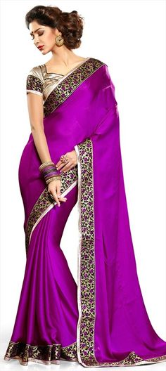 142486 Purple and Violet color family Embroidered Saree in Satin, Faux Chiffon fabric with Machine Embroidery, Border work with matching unstitched blouse. Indian Attire, Indian Wear, Indian Dresses, Indian Outfits, Beautiful Saree, Beautiful Dresses, Estilo India, Moda Indiana, Punjabi Girls