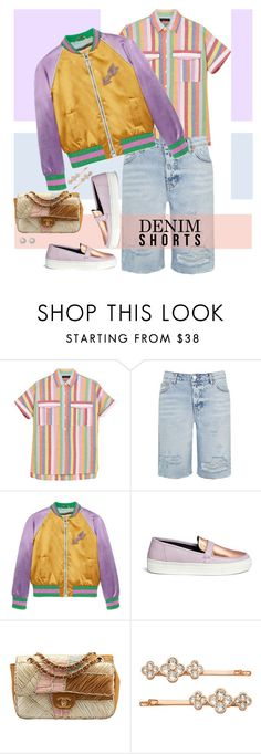 """The Final Cut: Denim Shorts"" by musicfriend1 ❤ liked on Polyvore featuring J.Crew, Topshop, Gucci, Eugène Riconneaus, Chanel, Henri Bendel, Nordstrom, jeanshorts, denimshorts and cutoffs"