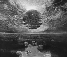bestqualitybeksinski: Zdzisław Beksiński black & white image of a painting Arte Horror, Horror Art, Macabre Art, Fantastic Art, Amazing, Surreal Art, Dark Fantasy, Graphic, Dark Art