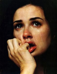 Emotional portrait of Demi Moore Expressions Photography, Face Photography, People Photography, Emotional Photography, Sadness Photography, Emotional Photos, Photography Ideas, Face Reference, Photo Reference