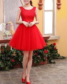 Etsy- love the bow Red Lace prom dress short prom dress by originaldressesMM520