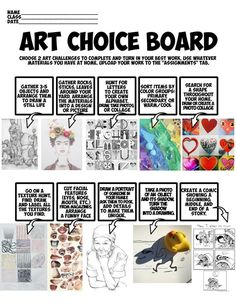 This is a simple art choice board with visuals to inspire creativity. This allows students to get creative, using what materials might be available and giving them options. Middle School Art Projects, Art School, Art Doodle, Classe D'art, 7 Arts, Art Handouts, Online Art Classes, Art Online, 6th Grade Art
