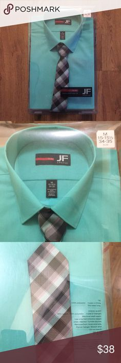 NWT Men's J Ferrar Dress Shirt/Tie M 15-15.5 34-35 NWT J Ferrar Men's Dress Shirt & Tie. Medium slim fit. Size: 15-15.5 neck, 34-35 length.  Mint colored button down shirt with coordinating tie! Perfect for spring and summer and any dressy occasion.  Still brand new in box! jf j.ferrar Shirts Dress Shirts