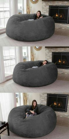 Turn a day of lounging around your house into paradise by plopping down onto this jumbo bean bag chair. It's big enough to accommodate up to three people and comes with a dual layer design so you can Giant Bean Bag Chair, Large Bean Bag Chairs, Bean Bag Lounge Chair, Room Interior, Interior Design Living Room, Interior Livingroom, Diy Casa, Dream Rooms, Room Decor Bedroom