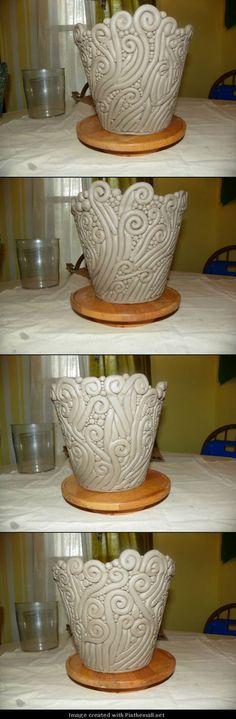 pre-firing hand coiled planter: