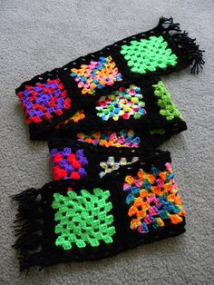 A Granny Square Scarf! Made from scraps... perfect for a teenaged girl.