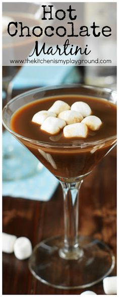 Hot Chocolate Martinis ~ Sit by the fire & sip this rich chocolate #cocktail. It's the perfect plan for warming up on cool fall & winter days! #cocktailrecipes #wintercocktails www.thekitchenismyplayground.com