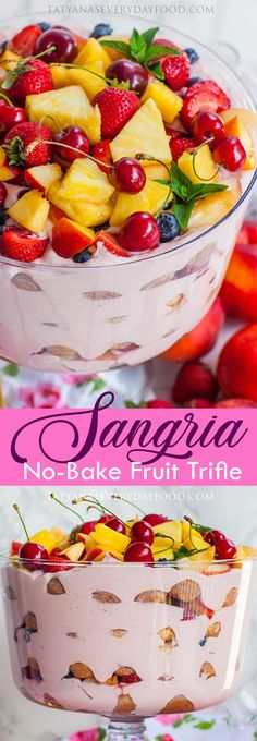 Easy no-bake sangria fruit trifle - the ultimate summer-time dessert! Made with ladyfingers, fluffy berry filling, fruit and SANGRIA! Fruit Trifle, Fruit Parfait, Sangria Fruit, Tatyana's Everyday Food, Easy To Make Desserts, Individual Desserts, Trifle Recipe, Best Fruits, Homemade Cakes