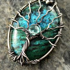 Tree of life pendant  Chrysocolla and Apatite gemstones. Handmade wire wrapped jewelry