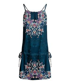 Lily Teal & Purple Floral Sleeveless Tunic - Women & Plus Black And White Landscape, Black White, Sleeveless Tunic, Teal, Purple, I Dress, Warm Weather, Floral Design, Pants For Women