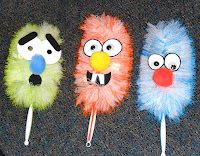 Dust Bunnies from Rhyming Dust Bunnies  thinking dollar store = some great monster puppets