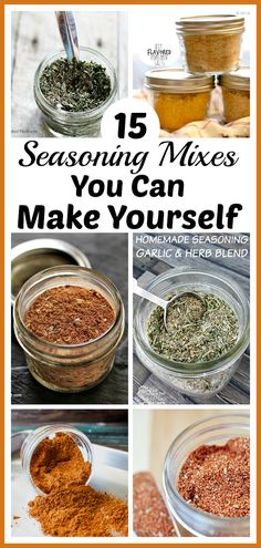 15 Seasoning Mixes You Can Make Yourself- Easy DIY Seasoning Recipes - - Tired of the high price of commercial seasoning mixes? Check out these easy seasoning mixes you can make yourself to save money! Homemade Dry Mixes, Homemade Italian Seasoning, Homemade Spice Blends, Homemade Spices, Homemade Seasonings, Spice Mixes, Fajita Seasoning Mix, Homemade Fajita Seasoning, Hamburger Seasoning Recipe