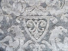 TB76 Exquisite RARE Antique French Alencon Lace Tablecloth Mythical Beasts   eBay
