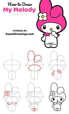 How to Draw My Melody from Sanrio How to Draw My Melody from Sanrio lizzy Save Images lizzy Easy step-by-step drawing tutorial to draw My Melody chara… – Best Friends Forever Easy Cartoon Drawings, Bff Drawings, Cute Easy Drawings, Art Drawings For Kids, Cute Kawaii Drawings, Doodle Drawings, Animal Drawings, Kawaii Doodles, Cute Doodles