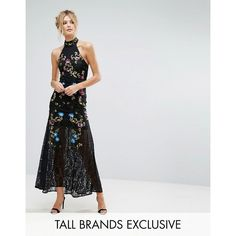 Frock And Frill Tall Premium Embellished Floral Maxi Dress With... ($200) ❤ liked on Polyvore featuring dresses, black, sheer lace dresses, vintage lace dress, vintage maxi dresses, embroidered maxi dress and shift dress
