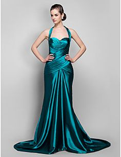 vestido de noche de satén tren de barrido cabestro trompeta / sirena / cepillo tramo (759.974)