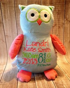 "Personalized baby gift Baby Cubbie ""Hooty"" the owl, stuffed animal keepsake"