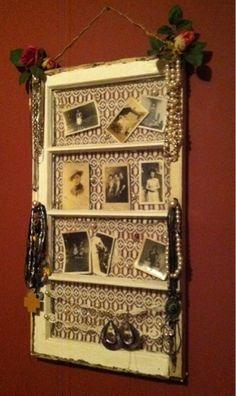 Old Window turned Jewelry Holder & Photo Frame