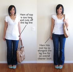 Wardrobe From Scratch, Part Basic Guide to Proper Fit. for most people (read: not super tall people with really long legs) the hem of the shirt should end around mid hip, and not too far past the crotch of your pants. This is to elongate the leg line. Mode Outfits, Casual Outfits, Fashion Outfits, Fashion Tips, Looks Style, Style Me, Style Couture, Look Fashion, Pear Shape Fashion