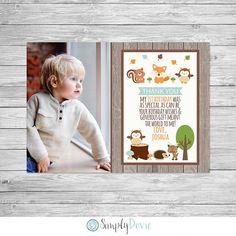 Woodland Birthday Thank You Card Printable, Woodland Thank You, Woodland Birthday