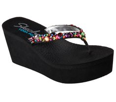 Be the hit of the party in warm weather glamour and comfort with the SKECHERS Cali Padma - Summer Bash sandal. Soft fabric upper with colorful gem detail in a wedge heeled casual thong sandal with Yoga Foam cushioned footbed. Vans Shoes Women, Girls Shoes, Womens High Heels, Womens Flats, Flip Flop Shoes, Womens Flip Flops, Fashion Sandals, Trendy Shoes, Summer Bash