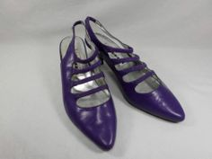 Womens shoes NEW YORK TRANSIT purple leather KITTEN SLINGBACK 80's heels sz 7 M