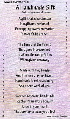 Manda Nicole's Crochet Patterns: A Handmade Gift - a poem