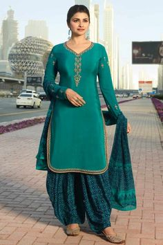 8dd4390851 Green Crepe Patiala Suits Patiala Salwar Suits, Salwar Kameez Online,  Salwar Suits Online,