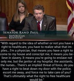Senator Rand Paul is a #selfservative and apparently doesn't know the real meaning of slavery.