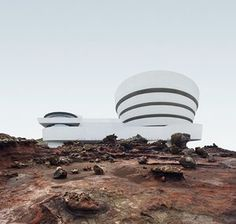 Using digital editing, designer Anton Repponen places Manhattan buildings in desolate landscapes, 'inviting viewers to see them as if for the first time'. Solomon R. Guggenheim Museum, 1959 1071 Fifth Avenue, New York