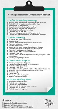 Wedding Photo Checklist (I have no plans to do a wedding, but good for the future just in case) Perfect Wedding, Dream Wedding, Wedding Day, Wedding Stuff, Trendy Wedding, Wedding Bells, Wedding Bride, Wedding Reception, Wedding Photography Checklist