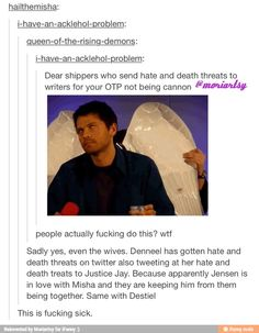 Ugh this makes me so upset. We should be allowed to interpret the show how we want but don't give all shippers a bad name by being rude, pushy, and disrespectful. Sure, be vocal and not oppressed but sending threats and hate is unacceptable. Don't be the hateful crazies that some people like to label us as.