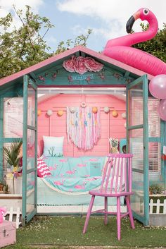 – Owned by Emily Fisher in Bristol. It's bright, it's colourful, it's full of flamingos an Summer Sheds, Shed Images, Shed Of The Year, Flamingo Garden, Art Shed, Glamour Decor, Wendy House, Bristol, Welcome To My House