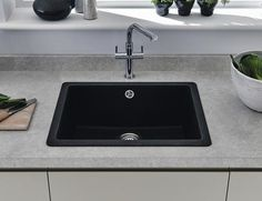 Lamona Black Granite Composite Inset/undermount Single Bowl Sink