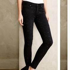 """Anthropologie Ultra Skinny Embellished Jeans By Paige. Verdugo Ultra Skinny. Size 29. These run small. Worn twice. In mint condition. There are some beads missing, but not noticeable when wearing. Price reflects this. The beading is only on the front side, plain in the back. Crafted of the finest fabrics and made in Los Angeles, each pair of Paige jeans is designed with a flawless, tailored fit in mind. Cotton, polyester Bead details Button and zipper closure Five-pocket styling 29.5"""" inseam…"""