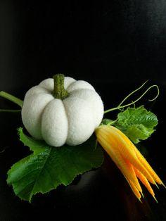 Felted White Pumpkin