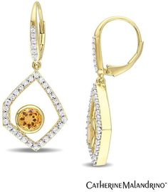 "Zales Catherine Malandrinoâ""¢ Citrine, White Sapphire and Diamond Drop Earrings in Sterling Silver with 18K Gold Plate"