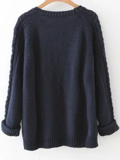 Shop Navy Cable Knit Raglan Sleeve Sweater online. SheIn offers Navy Cable Knit Raglan Sleeve Sweater & more to fit your fashionable needs.