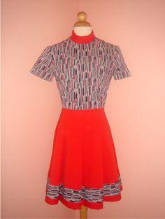 So cute! vintage 60's mod red n navy dress was 38 by HarlowsVintage, $24.00