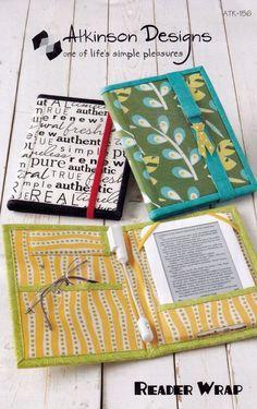 Reader Wrap Cover Holder Sewing Pattern Atkinson Designs Nook Kindle eReader #Atkinson