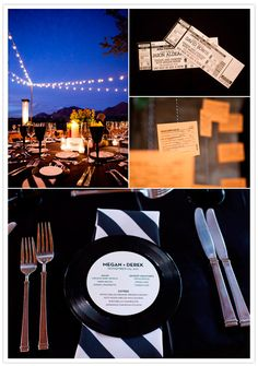love the record place settings in this  rock n roll wedding