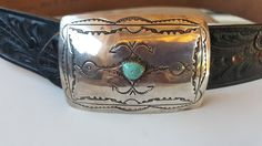 Old Pawn Zuni Navajo Roadrunner Bird Sterling silver Turquoise Belt Buckle by FeedingHearts on Etsy