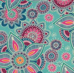 Henna Fabric: Henna Florals, Multi on Turquoise (per 1/4 metre)