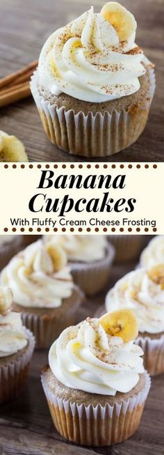 These Banana Cupcakes with Cream Cheese Frosting are fluffy and moist with a classic banana flavor and topped with cream cheese frosting #cupcakes #bananacupcakes #recipes #frosting
