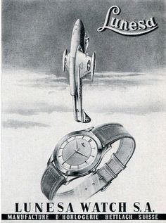 Original 1956 Lunesa Watch SA Switzerland Swiss Print Ad Advert Suisse Publicite | eBay