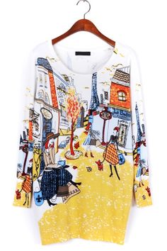 Street-chic Painting Print Sweater