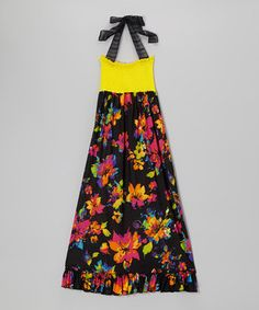 Lori & Jane Yellow & Black Floral Maxi Dress by Lori & Jane #zulily #zulilyfinds