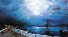 Volanakis, Volos port in the moonlight, Santorini, Moonlight, 19th Century, Greece, Clouds, Culture, Canvas, Outdoor, Communication