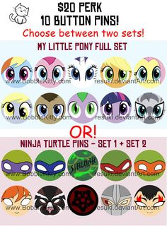 My Little Pony and Teenage Mutant Ninja Turtle 10 Pack of Buttons! Available for a limited time via IndieGoGo! #TMNT #MLP:FIM