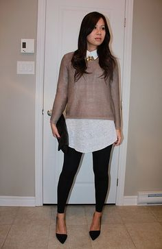 Chunky knit, tunic, leggings and heels.